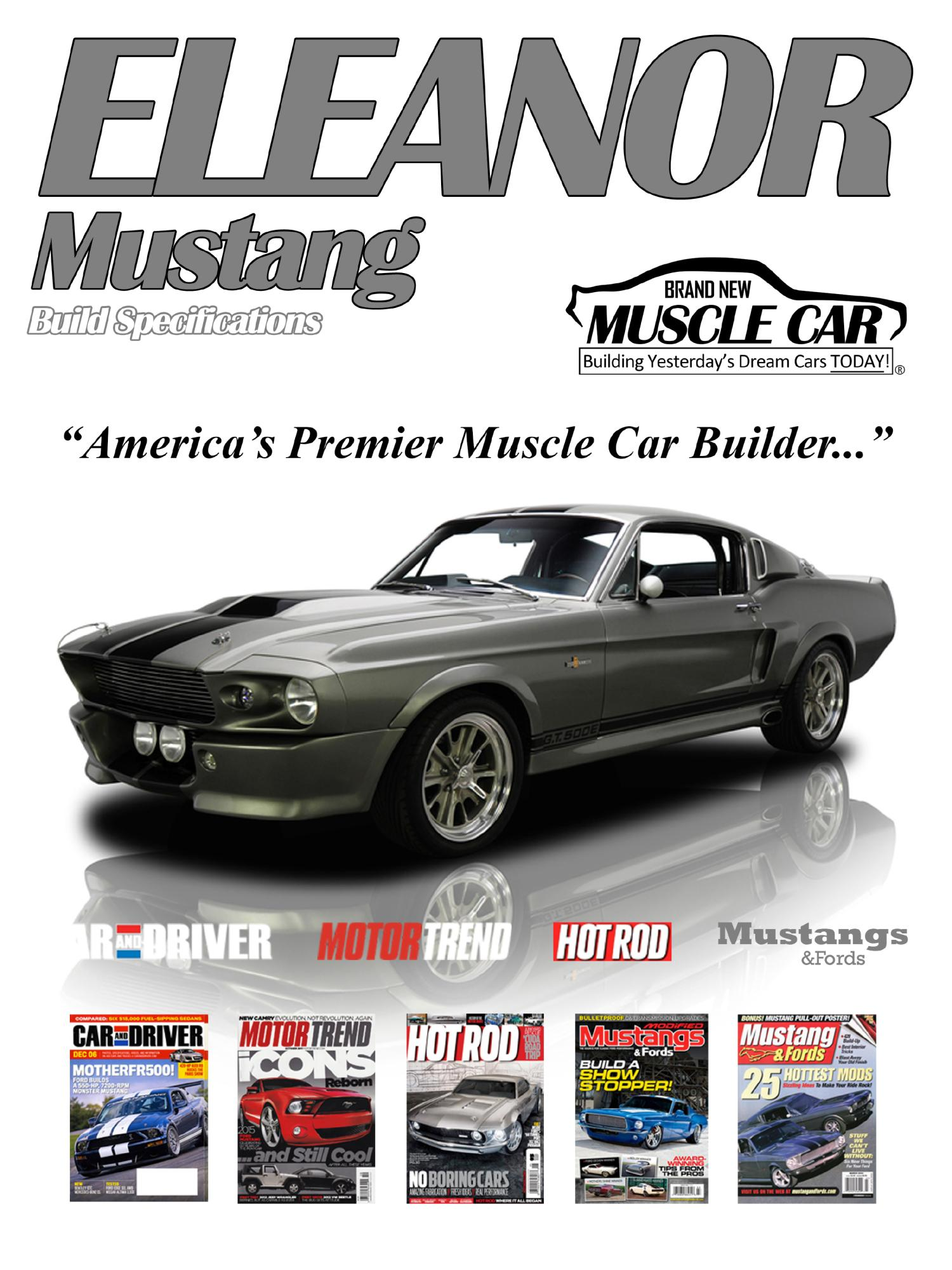 Eleanor brochure page 1 eleanor mustang replica builder for sale 1967 fordeleanor mustang fastback gt500e